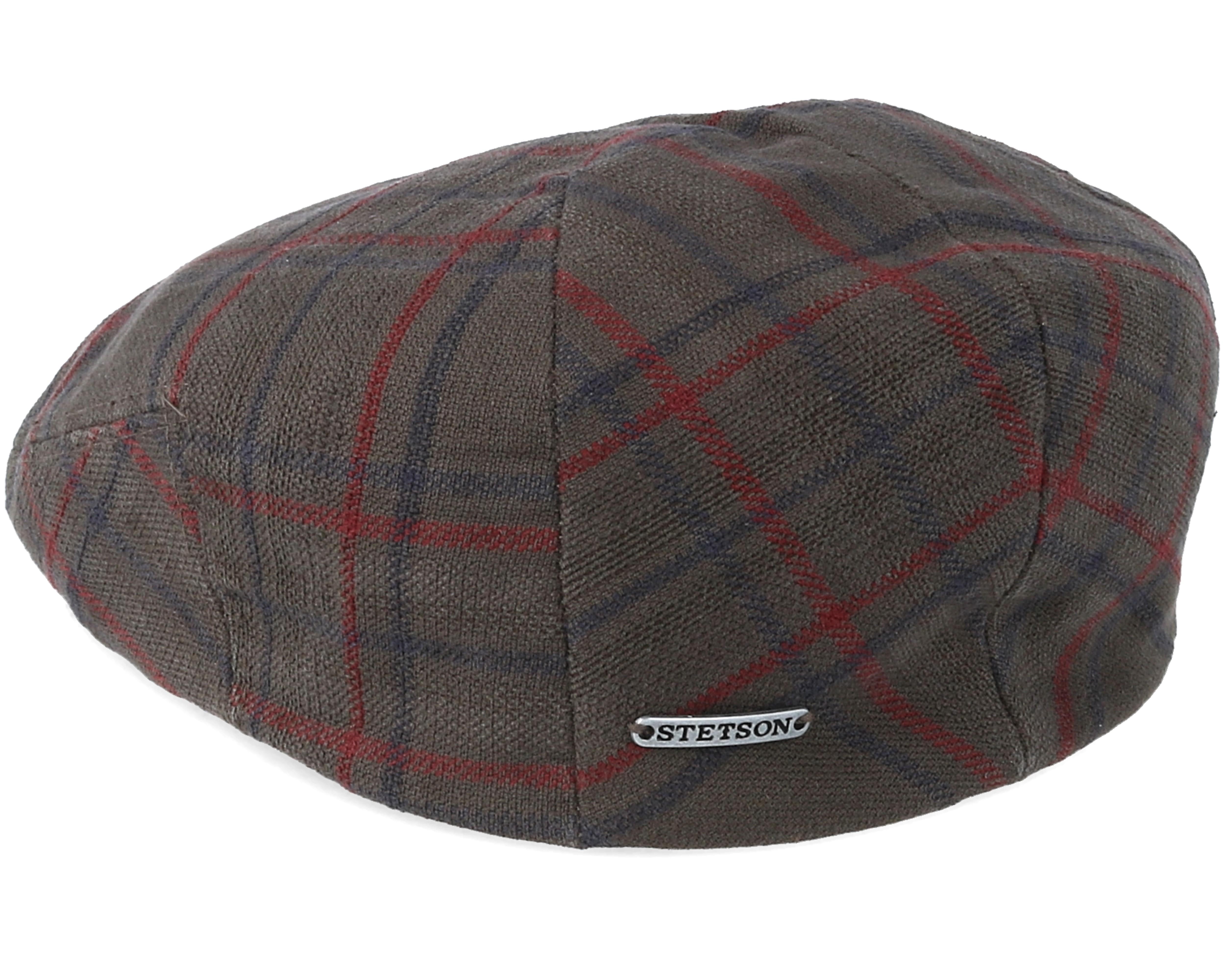 Driver Cotton Cap Check Brown Flat Cap Stetson Cap