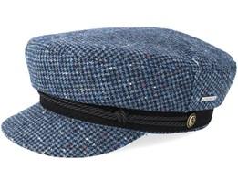 Riders Cap Wool Check Blue/Navy Flat Cap - Stetson