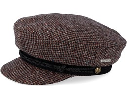 Riders Cap Wool Check Brown Flat Cap - Stetson