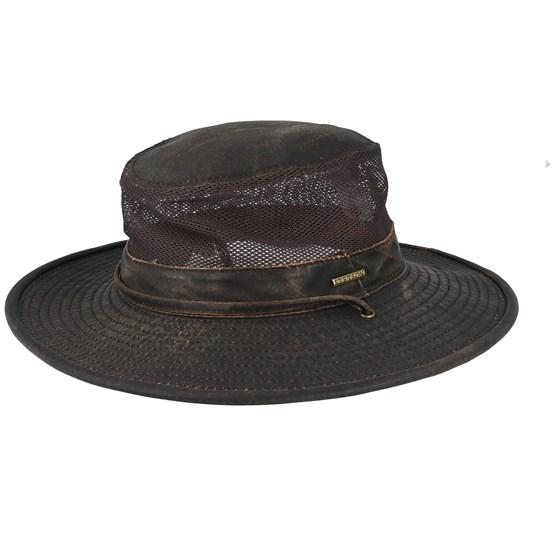 Hatt Outdoor Air Mesh CO/PE Washed Brown Traveller - Stetson - Brun Traveller
