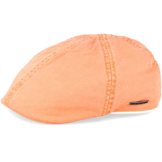 Keps Texas Dyed Cotton Orange Flat Cap - Stetson - Orange Flat Caps