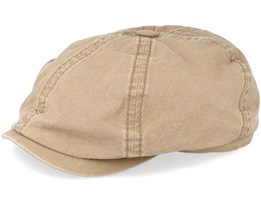 Delave Organic Cotton 6-Panel Beige Flat Cap - Stetson