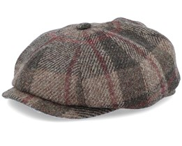 Hatteras Virgin Wool Check Brown Flat Cap - Stetson