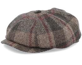 Hatteras Virgin Wool Check Brown Flat Cap - Stetson