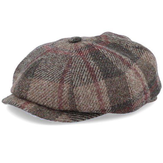 Keps Hatteras Virgin Wool Check Brown Flat Cap - Stetson - Brun Flat Caps