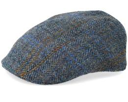 Ivy Cap Harris Tweed Blue Flat Cap - Stetson