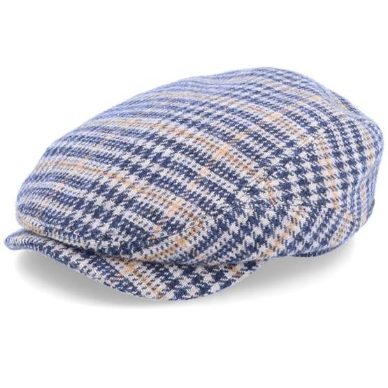 Keps Driver Cap Wool Check Beige/Navy Flat Cap - Stetson - Beige Flat Caps