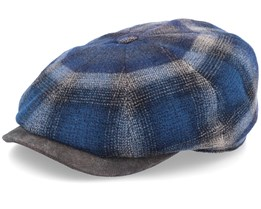 Hatteras Virgin Wool Leather Brim Check Brown/Navy Flat Cap - Stetson
