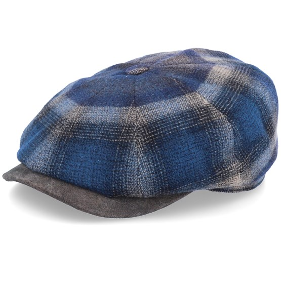 Keps Hatteras Virgin Wool Leather Brim Check Brown/Navy Flat Cap - Stetson - Brun Flat Caps