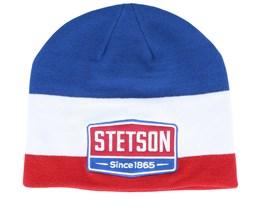 Gasoline Blue/White/Red Beanie - Stetson