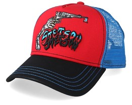 Skeleton Shot Red/Blue/Black Trucker - Stetson