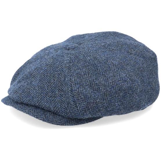 Keps Hatteras Wool Herringbone Navy Flat Cap - Stetson - Blå