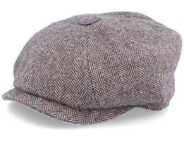 Hatteras Wool Herringbone Fishgrat Brown Flat Cap - Stetson