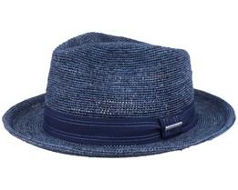 Fedora Raffia Crochet Navy Straw Hat - Stetson