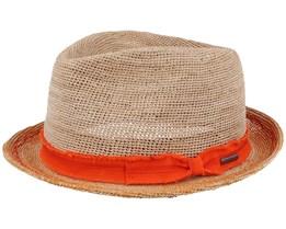 Trilby Crochet Natural/Orange Straw Hat - Stetson