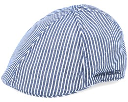 Duck Cotton Stripe Navy/White Flat Cap - Hammaburg