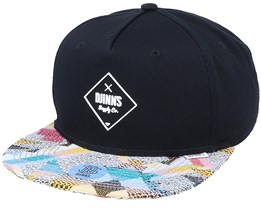 5-Panel Rubber Aztek Black Snapback - Djinns
