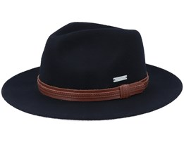 Felt 2 Black/Leather Fedora - Seeberger