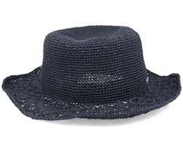 Matelot With Shell Crochet Brim Black Sun Hat - Seeberger