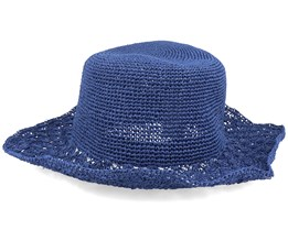 Matelot Shell Crochet Brim Ink Blue Sun Hat - Seeberger