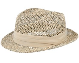 Trilby Seagras With Trimming Nature Straw Hat - Seeberger