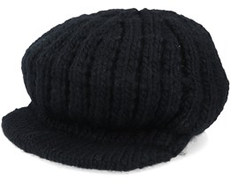 Peaked cap in rib structure Black Knit - Seeberger