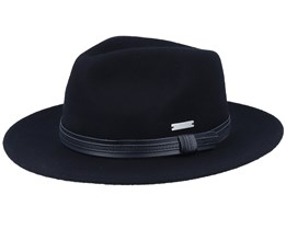 Felt Black/Black Leather Fedora - Seeberger