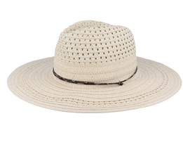 Fedora In Braid Mix And Leather Trimming Linen Straw Hat - Seeberger