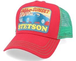Sunset Red/Green Trucker - Stetson