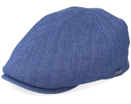 Duck Cap Cotton/Linen Blue Flat Cap - Stetson