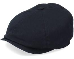 6-Panel Cap Cotton Twill Black Flat Cap - Stetson