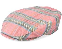 Kent Linen Check Pink/Green Flat Cap - Stetson
