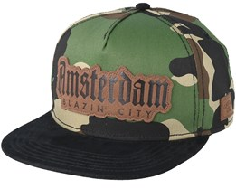 Amsterdam Lux Woodland Camo/Black Snapback - Cayler & Sons