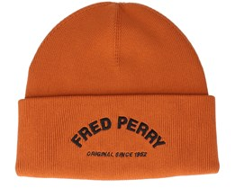 Arch Branded Beanie Burnt Clay Cuff - Fred Perry