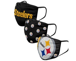 Pittsburgh Steelers 3-Pack NFL Black Face Mask - Foco