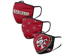 San Francisco 49ers 3-Pack NFL Red Face Mask - Foco
