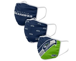 Seattle Seahawks 3-Pack NFL Navy Face Mask - Foco