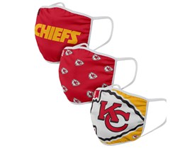 Kansas City Chiefs 3-Pack NFL Red/Yellow Face Mask - Foco