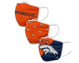 Denver Broncos 3-Pack NFL Orange/Navy Face Mask - Foco