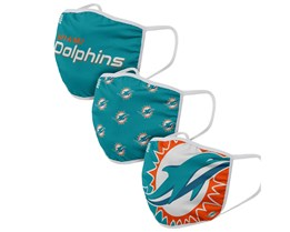 Miami Dolphins 3-Pack NFL Face Mask - Foco