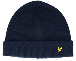 Racked Rib Beanie Dark Navy Cuff - Lyle & Scott