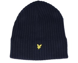 Knitted Ribbed Beanie Dark Navy Beanie - Lyle & Scott