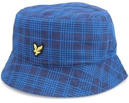 Reversable Check Hat W352 Navy/Ocean Blue Bucket - Lyle & Scott