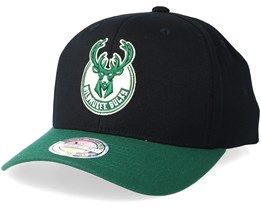 380d9e3ea6c23 Milwaukee Bucks 2 Tone Black Green 110 Adjustable - Mitchell   Ness
