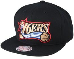 Philadelphia 76ers Wool Solid Black Snapback - Mitchell & Ness