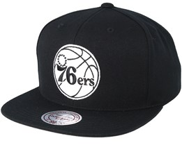 Philadelphia 76ers Wool Solid Black/White Snapback - Mitchell & Ness
