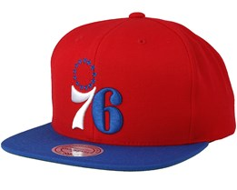 Philadelphia 76ers 2 Tone Red/Blue Snapback - Mitchell & Ness