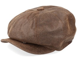 Leather Newsboy Brown Flat Cap - Jaxon & James