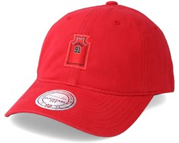 9a7876f0d32 Chicago Bulls Small Jersey Dad Hat Red Adjustable - Mitchell   Ness