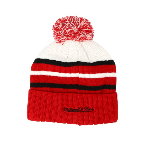 b171c9949 Chicago Bulls Colour Block Special Script Knit Red Beanie - Mitchell & Ness